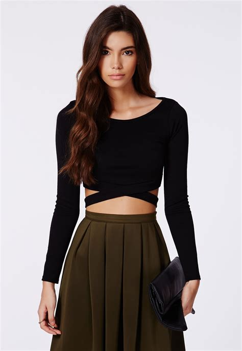 crop blouse chara bandage waist crop top tops crop tops missguided