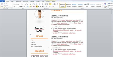 Cv Word Gratuit 2016 by Exemple De Cv Gratuit Word 224 Remplir 2016 Stagepfe