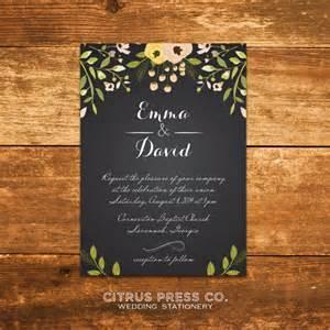 chalkboard wedding invitations chalkboard wedding invitation with flowers by citruspressco