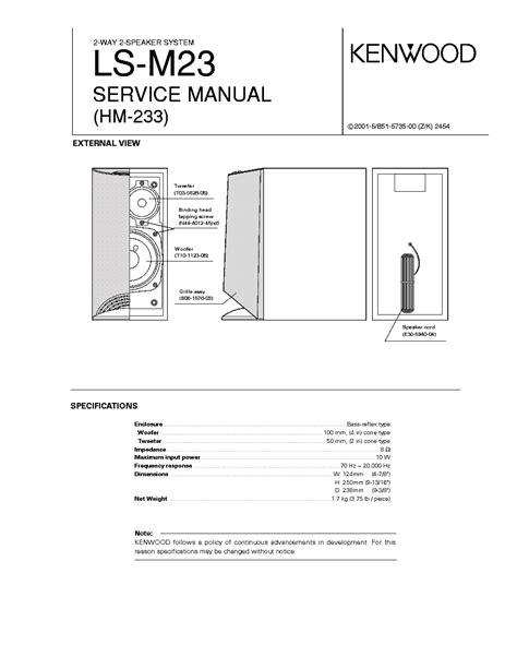 kenwood ls m23 hm 233 sm service manual download