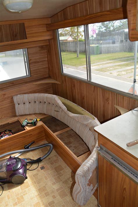 diy caravan renovation stripping  demolishing woody