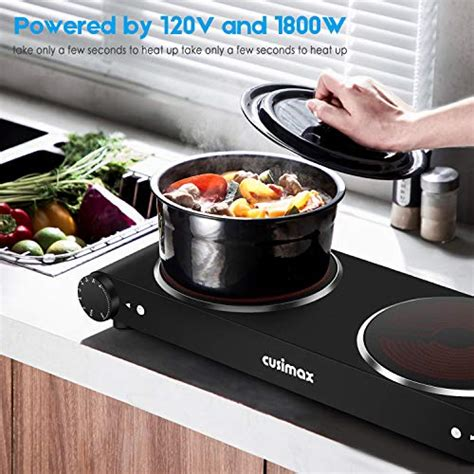 cusimax portable electric stove  infrared double burner heat   seconds   ceramic