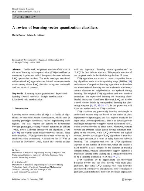 (PDF) A review of learning vector quantization classifiers