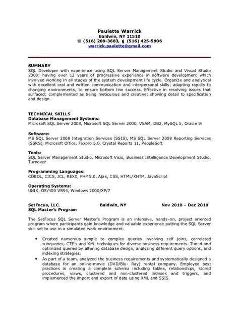 sql server developer resume sle best resume gallery