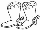 Cowboy Coloring Pages Boot Boots Clipart sketch template