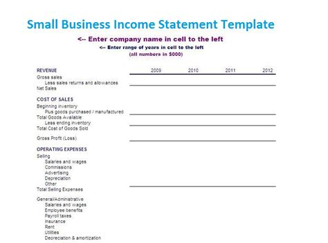 small business income statement template xlstemplates