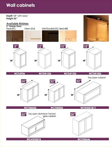 Wunderbar Kitchen Cabinets Specifications Cabinet Sizes