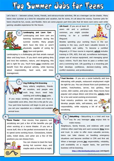 Top Summer Jobs For Teens Worksheet  Free Esl Printable Worksheets Made By Teachers