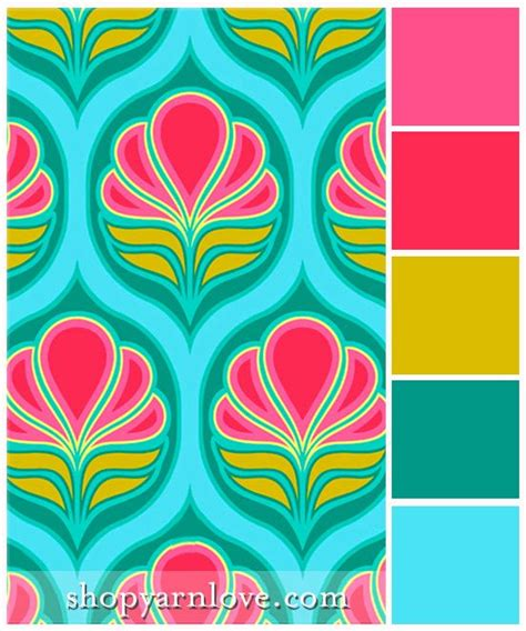 deco flowers color palette bright bold pink fuchsia ochre paired with teal and aqua