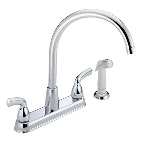 p99578lf two handle kitchen faucet with spray