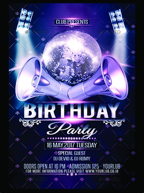 birthday party flyer templates 30 birthday flyer templates free psd word designs