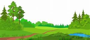 Landscape clipart meadow - Pencil and in color landscape ...