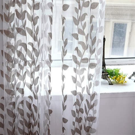 voile leaves printed tulle living room window