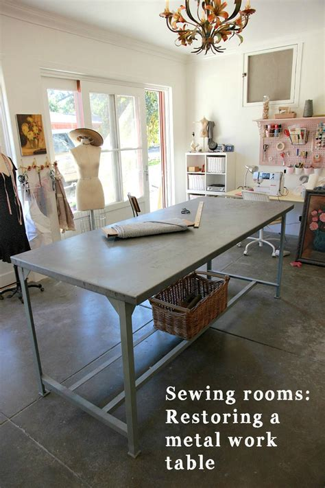 project sewing room restoring  metal work table