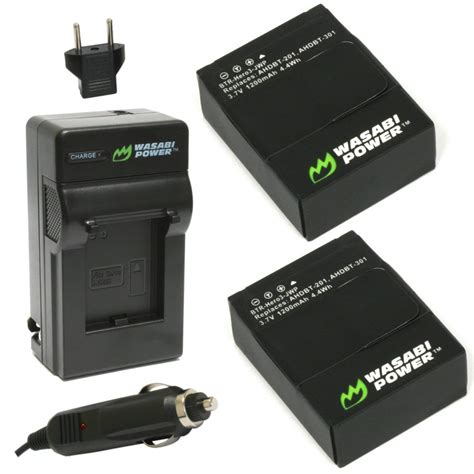 gopro battery wasabi power battery 2 pack and charger for gopro hero3