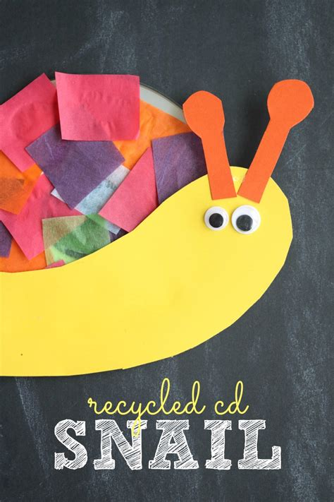 recycled cd snail kid craft   takes