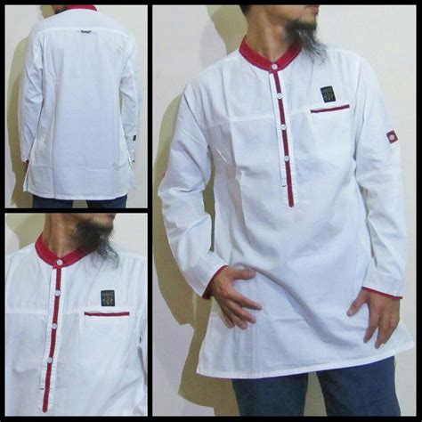 jual baju gamis kurta pakistan samase baju muslim pria lengan panjang warna putih di lapak