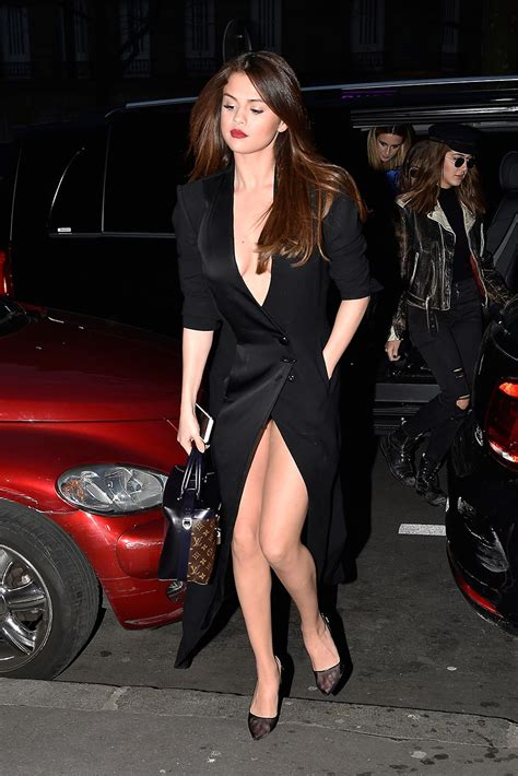 sexy selena gomez cleavage and upskirt in paris hot pics