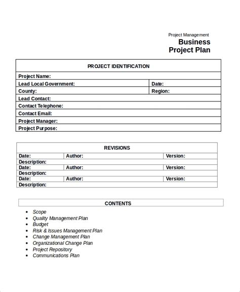 project plan template   word  document
