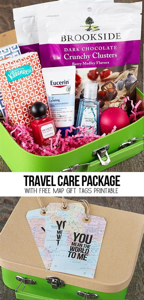 sweet travel themed care package   map gift tags