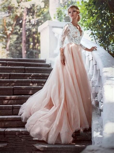 white lace sleeves pink tulle long wedding dress