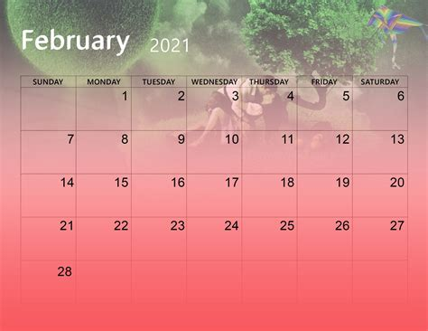 cute february  calendar desktop wallpaper