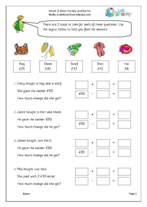 2 step money problems money maths worksheets for year 3 age 7 8
