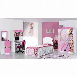 Chambre Complete Fille : chambre fille compl te 3 pi ces lady lit bureau armoire 3 portes ~ Teatrodelosmanantiales.com Idées de Décoration