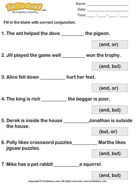 fill   blanks  conjunctions    worksheet