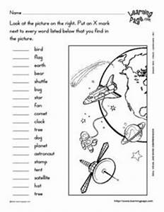 Space Visual and Word Comprehension 1st Grade Worksheet ...