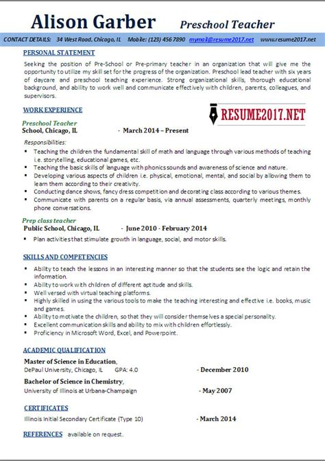 Teaching Resume Template by Preschool Resume Sles 2017