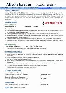 Sample resume for teachers for preschool