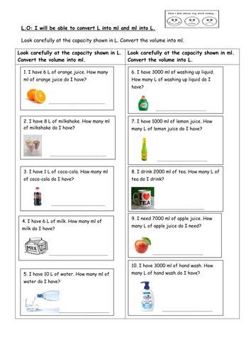 ks2 maths converting capacity word problems by selinaj