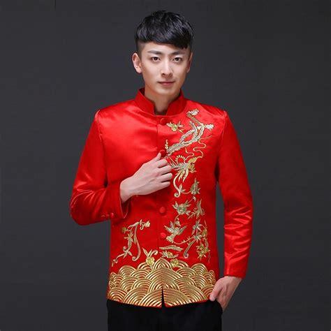 china traditional men phoenix dragon embroidery cheongsam