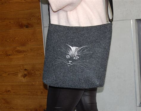 felt bag shoulder bag felt  embroidery gray handbag etsy