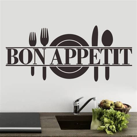 stickers pour cuisine bon appetit kitchen restaurant quote wall sticker decal uk