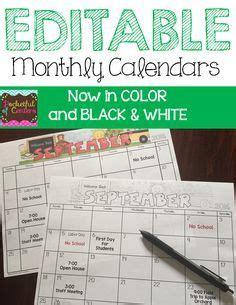 editable monthly calendar   education editable
