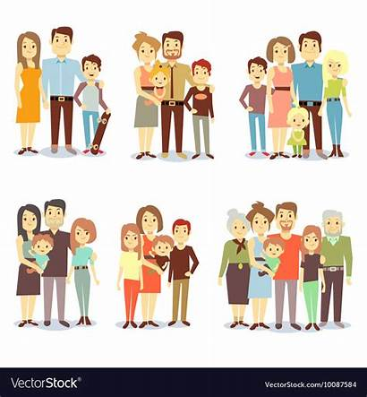 Families Types Different Vector Flat Icons Royalty