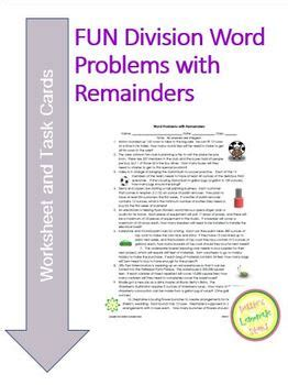 division word problems with remainders worksheet task cards