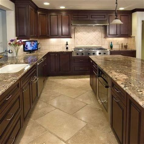 kitchen cabinets light floor granite counter top
