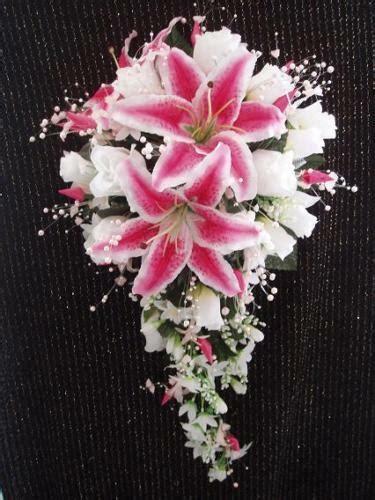 wedding  pc bridal bouquet stargazer lily white ivory