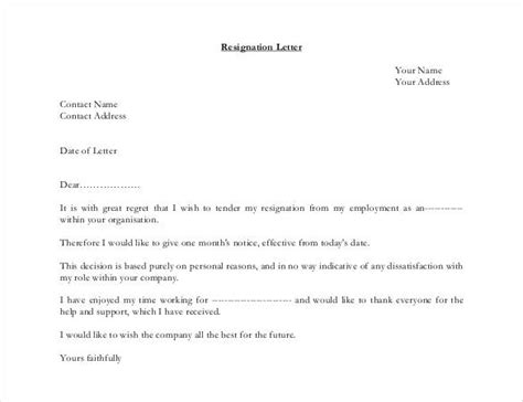 simple resignation letter templates