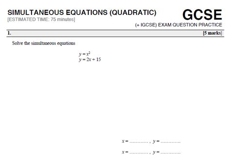 26 free simultaneous equations worksheets and lesson plans