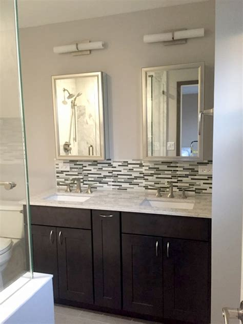 glass tile backsplash in bathroom angies list
