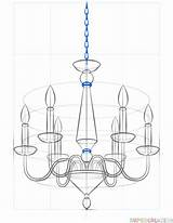 Chandelier Draw Drawing Step Supercoloring Tutorials sketch template