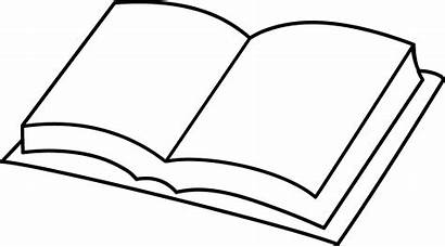 Clip Books Open Line Clipart Coloring Blank