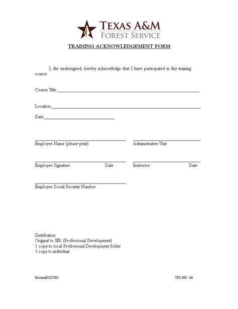 training acknowledgment form templates at allbusinesstemplates