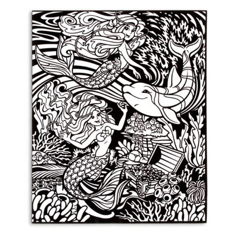 velvet coloring poster  markers mermaids