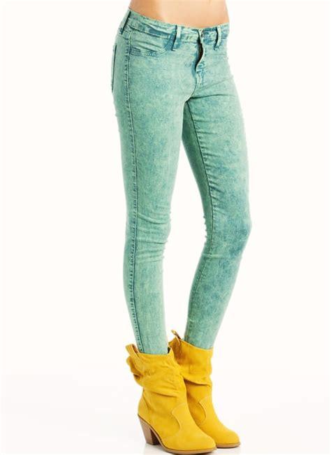 Colored Acid Wash Skinny Jeans $4110 In Brown Cherry Jade