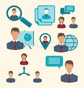 Illustration Flat Icons Of Business People Showing